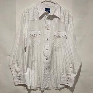 Wrangler Men Western Pearl Snap Long Sleeve Shirt